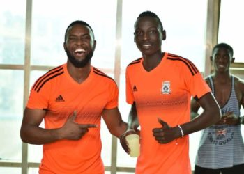John Byamukama (R) is the 11th player to be signed by Express this off-season. (PHOTO/Courtesy)