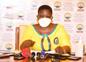 NRM Secretary General Justine Kasule Lumumba during a press address on Sunday (PHOTO/Courtesy).