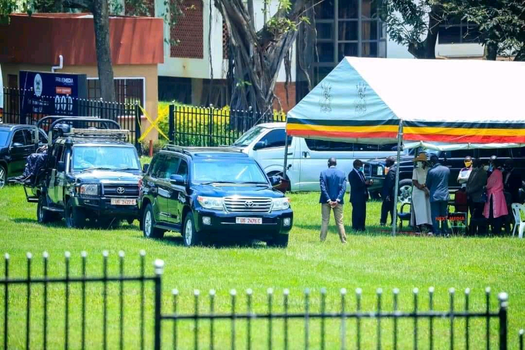 Education minister Janet Museveni arrives at Makerere University on Sunday afternoon (PHOTO/Courtesy).