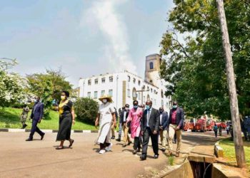 Education minister Janet Museveni arrives at Makerere University on Sunday afternoon (PHOTO/Courtesy).