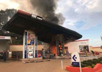 Burning Moka petrol station (PHOTO/Courtesy).