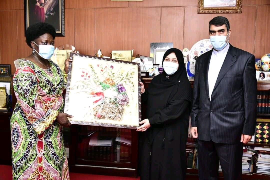 Ambassador Seyed Mortzayi and wife presenting a persian painting to Speaker Rebecca Kadaga in her office at Parliament on Monday (PHOTO/Courtesy).