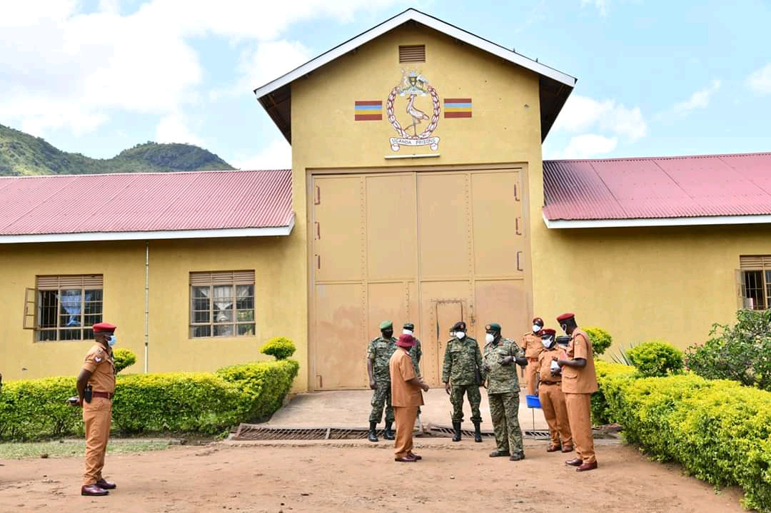 Commissioner General of Prisons, Dr Johnson Byabashaija and other officials visiting Uganda Government Prison Moroto (PHOTO/Courtesy).