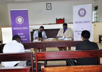 Judicial Officials during the launch of Mediation monitoring and evaluation exercise for western Uganda at Mbarara High court on Tuesday (PHOTO/Courtesy).