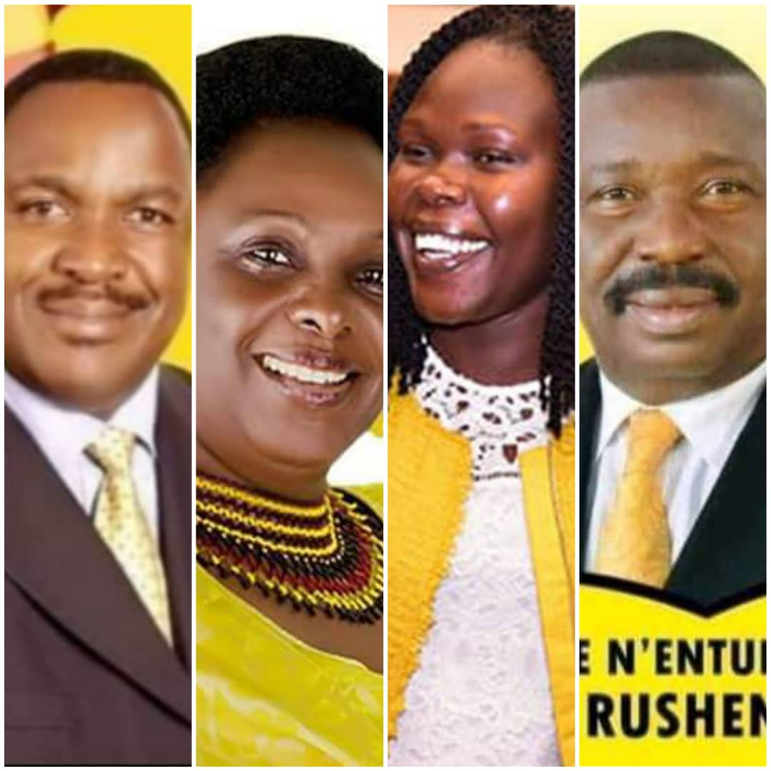 Voters have decided to call the time in Ministers L-R Elioda Tumwesigye (Science & Technology), Mary Karooro Okurut (General Duties), Evelyn Anite (Investments), and Mwesigwa Rukutana (Labour) after they were given an almighty kick in the NRM primaries on Friday (PHOTO/File).