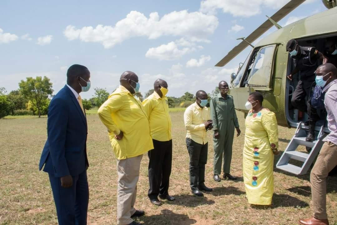 Ms Lumumba arrives at the funeral in the President's military helicopter (PHOTO/Courtesy).