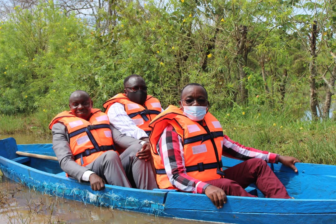 Dr. Eng Silver Mugisha took a boat to Kacung water intake to appreciate the works done so far and the challenges the team go through as they work to serve the people in Lira City (PHOTO/Courtesy).