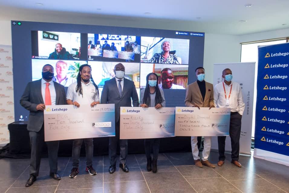 Letshego Botswana CEO, Letshego Group CEO and Botswana Innovation Hub CEO with the Winners (PHOTO/Courtesy)