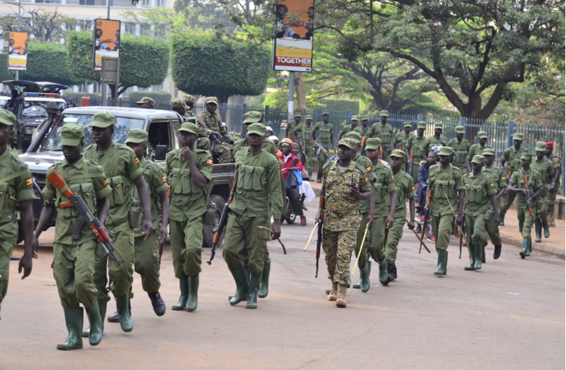 LDUs walking on the streets of Kampala (PHOTO/File).