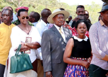 President Museveni in line to cast his vote (PHOTO/File).