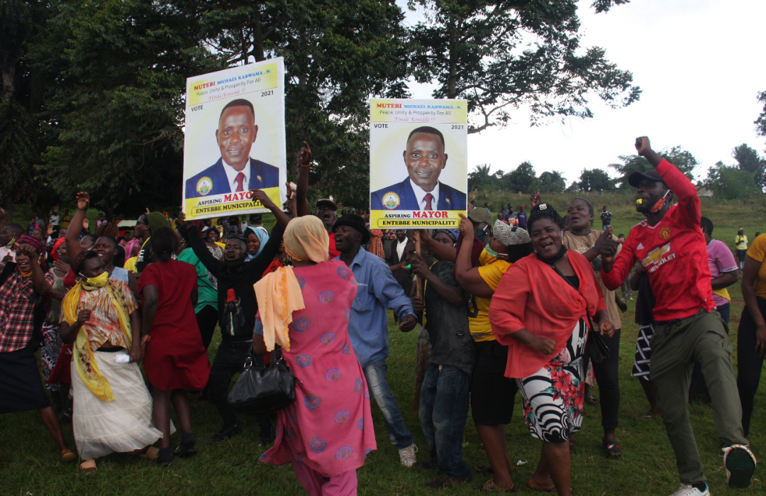 Michael Mutebi supporters celebrate his victory in Entebbe Photo by Paul Adude