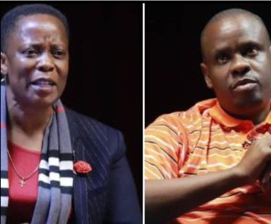 A collage photo of Mukono Member of Parliament Betty Nambooze Bakireke and Events Promoter Balaam Barugahara (PHOTO/File).