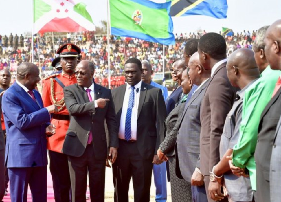 Tanzania's President John Magufuli (2nd L Front) introduces a Tanzanian Minister to Burundi's President Evariste Ndayishimiye (1st L Front) at Lake Tanganyika Stadium in Kigoma region, Tanzania, Sept. 19, 2020 (Tanzania State House/Handout via Xinhua)