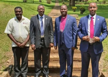 The UCU Deputy Vice-Chancellor for Academic Affairs, Dr. John Kitayimbwa; Deputy Vice-Chancellor for Finance and Administration, Mr. David Mugawe; University Council Chairman Prof. Alfred Olwa; and Vice-Chancellor Assoc. Prof. Aaron Mushengyezi pose after a recent meeting (PHOTO/Courtesy).