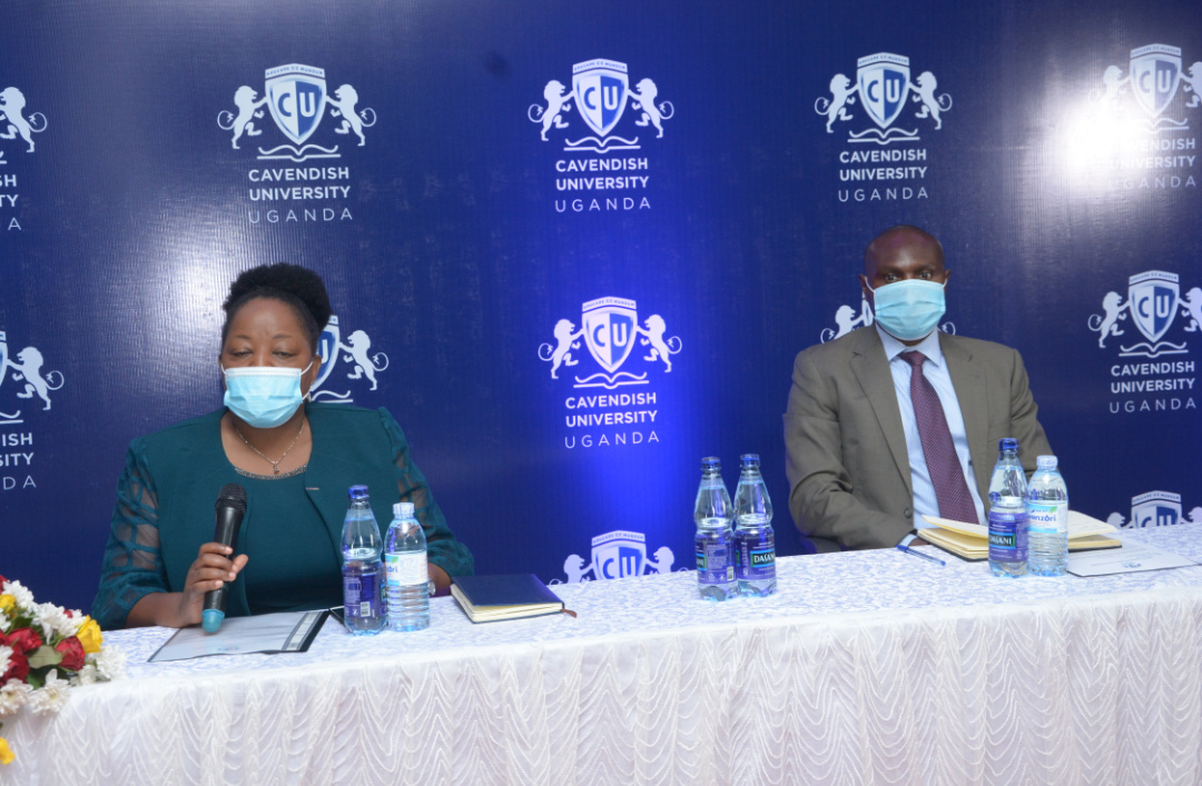 Mr David Mutabanura, the Executive Director Cavendish University and Ms Olive Sabiiti, the Cavendish Univeristy Deputy Vice Chancellor addressing the media (PHOTO/PML Daily).