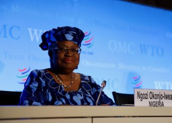 (200716) -- GENEVA, July 16, 2020 (Xinhua) -- Ngozi Okonjo-Iweala of Nigeria, a candidate for the new head of the World Trade Organization (WTO), attends a press conference at the WTO headquarters in Geneva, Switzerland, July 15, 2020.   With the selection process for the new head of WTO entering the second phase, three of the candidates presented themselves with members at a special General Council meeting on Wednesday.   They each had one hour and a half to make their candidacy presentations and take questions from the membership. (Photo by Li Ye/Xinhua)