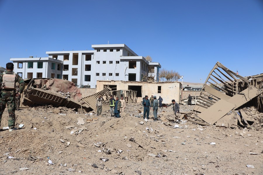 Photo taken on Oct. 18, 2020 shows the explosion site after a blast struck the provincial police office in Firoz Koah, capital of Afghanistan's western Ghor province (PHOTO/Xinhua).