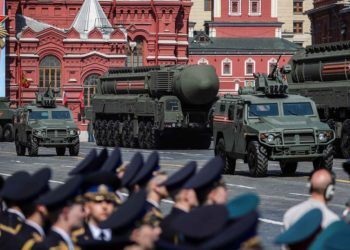 A Russian RS-24 Yars intercontinental ballistic missile system rolls down the Red Square during a rehearsal for the Victory Day parade in Moscow, Russia, May 7, 2019. (PHOTO/Xinhua).
