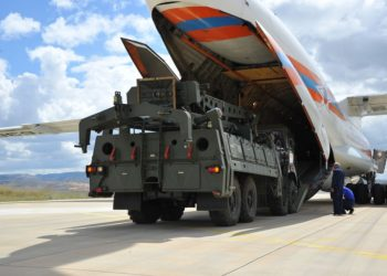 A Russian Antonov military cargo plane, carrying parts of the S-400 missile defense system from Russia, is unloaded after landing at the Murted Air Base in Ankara, Turkey, on July 12, 2019. (PHOTO/Xinhua).