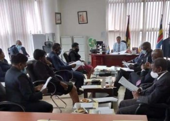Deputy Chief Justice, Richard Buteera in a meeting with Justices of the Court of Appeal/ Constitutional Court on Wednesday (PHOTO/Courtesy).