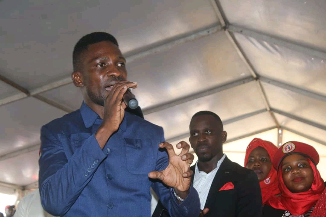 NUP Party President Robert Kyagulanyi speaking at the send-off of Nasser Ssebagala on Sunday (PHOTO/Courtesy).