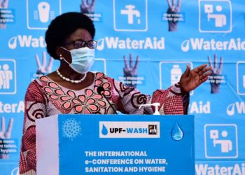 Speaker Rebecca Kadaga at the virtual conference on Water, Sanitation and Hygiene (WASH), where she pledged Parliament's support to the Uganda National Works Bill, 2019 and called on aspiring Members of Parliament to use the forthcoming campaigns for the 2021 general elections, to advocate for hand washing (PHOTO/Courtesy).