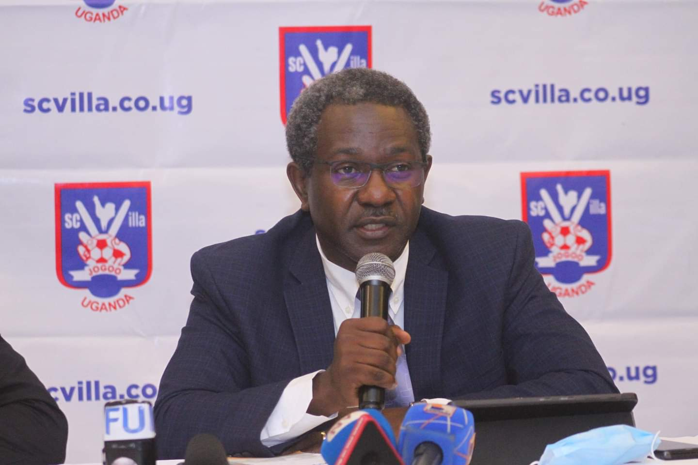 SC Villa interim Chairman William Nkemba speaking at a press briefing on Wednesday. (PHOTO/Courtesy)