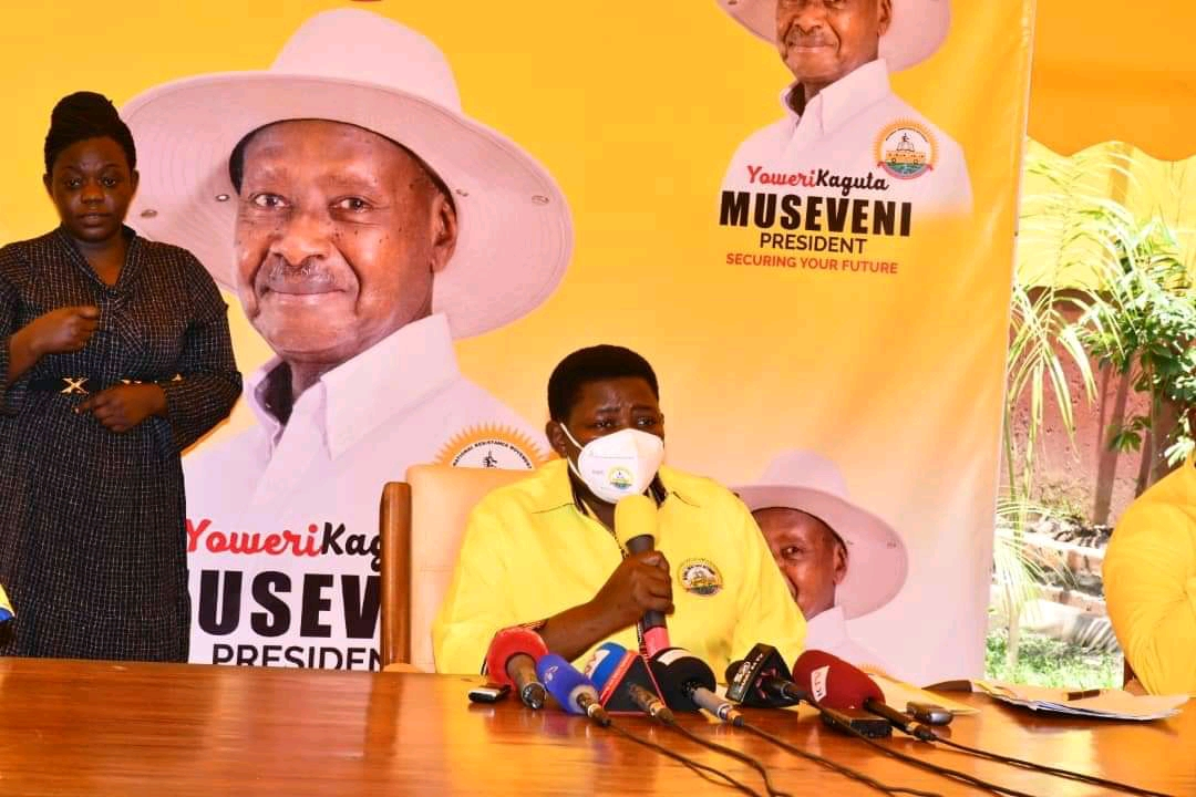 NRM National Treasurer Namayanja Rose Nsereko, addressing journalists on Sunday morning (PHOTO/Courtesy).