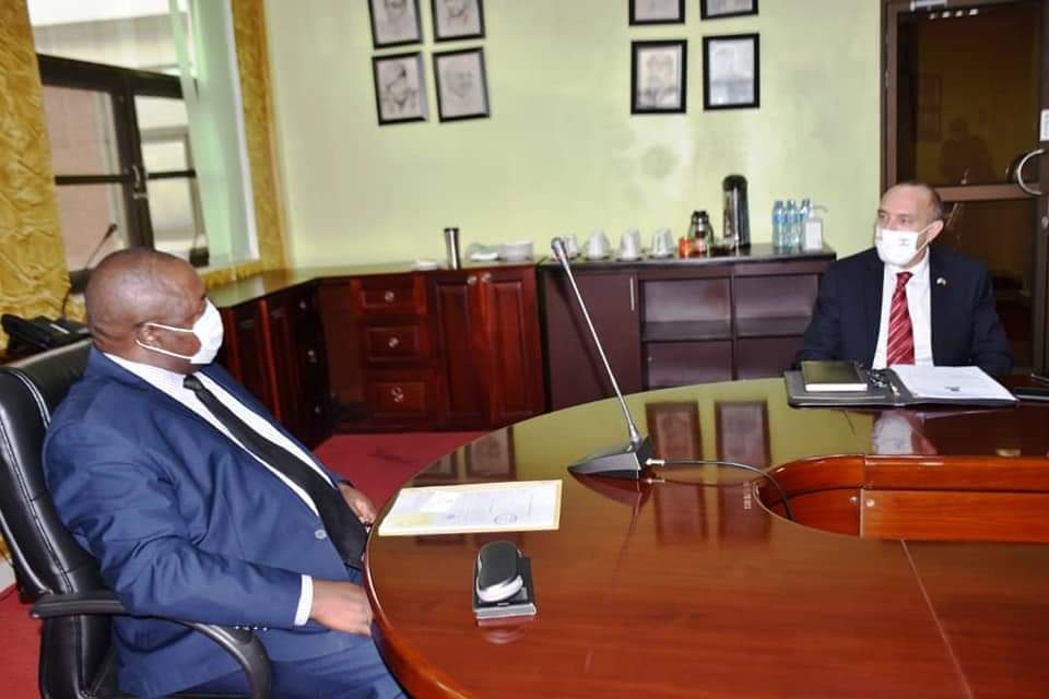Minister of Defence and Veteran Affairs Hon Adolf Mwesige and Ambassador of Israel in Uganda His Excellency Obed Joseph in a meeting (PHOTO/Courtesy).