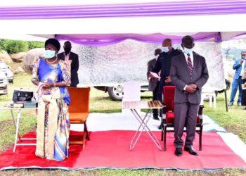 Speaker Rebecca Kadaga and Vice President Edward Kiwanuka Ssekandi respectively