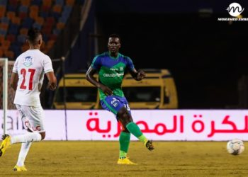 Khalid Aucho (R) in action for Misr El Makkasa recently. (PHOTO/Courtesy)