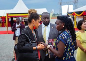 Forbes Magazine journalist interacts with Investments Minister Evelyn Anite and Mr. Isaac Kigozi of EAP in February 2020 (PHOTO/Courtesy).
