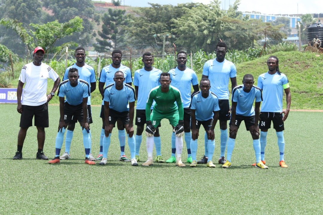 Kiboga Young players line up before their semi final with Ndejje University FC on Monday. (PHOTO/Courtesy)