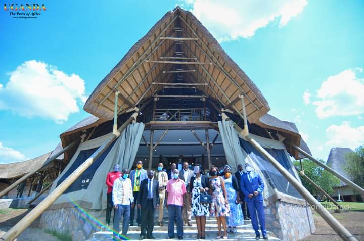 Tourism Officials and others in the group photo at the just opened Kigambira lodge in Lake Mburo park (PHOTO/Courtesy).
