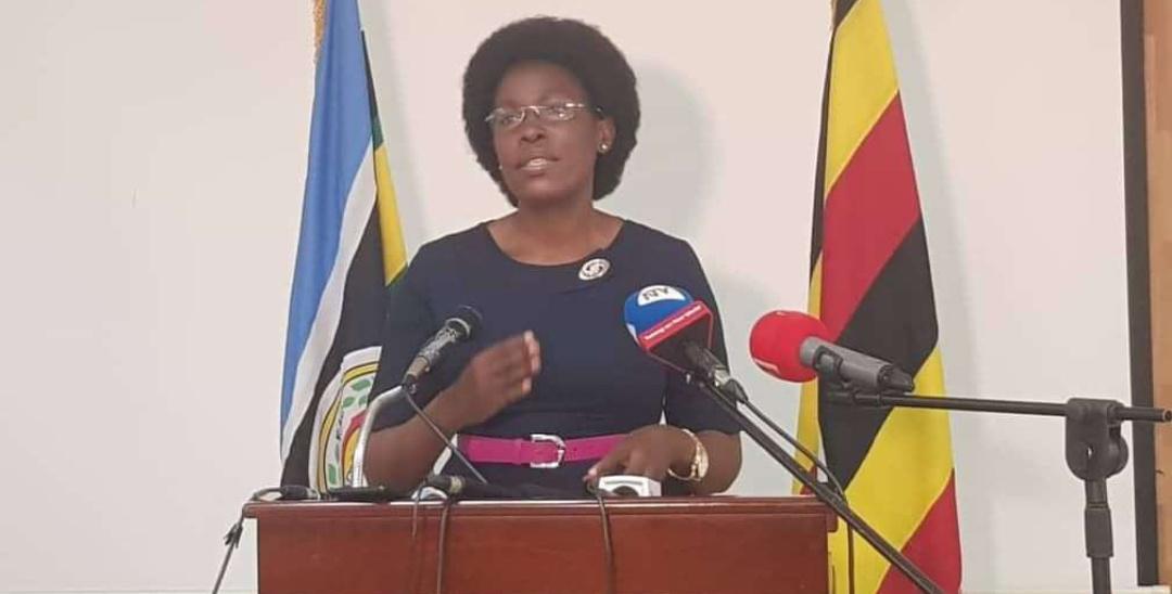 ICT Minister Judith Nabakooba addressing press at Uganda Media Center on Sunday (PHOTO/Courtesy).