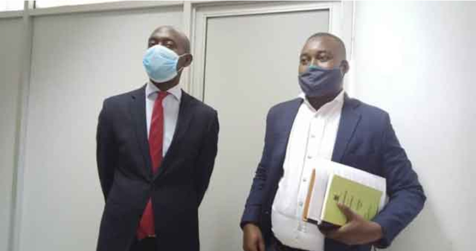 The Petitioner Morrison Rwakakamba together with his lawyer at the Constitutional Court (PHOTO/Courtesy).