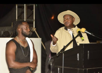 President Museveni speaking at singer Bebe Cool's show where he had officiated (PHOTO/File).