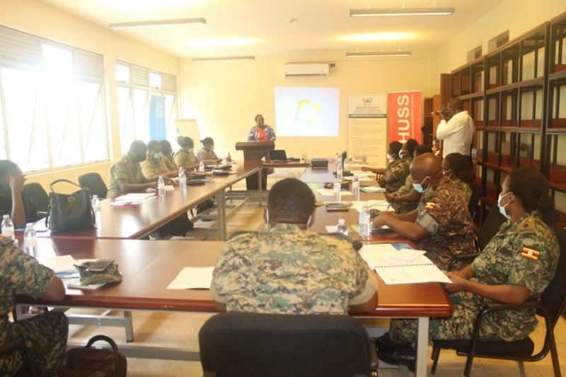 The Principal of CHUSS, Dr Josephine Ahikire addressing the officers (PHOTO/Courtesy).