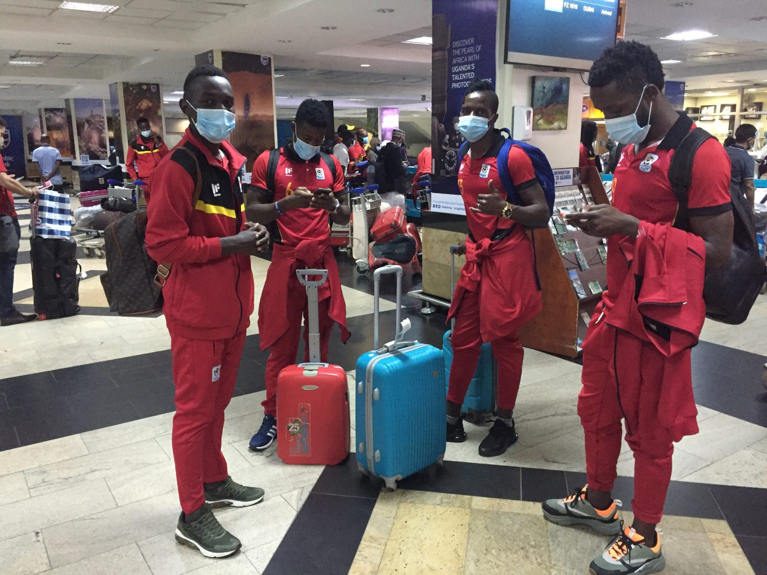 Some of the Cranes contingent at Entebbe International airport on Tuesday. (PHOTO/Courtesy)