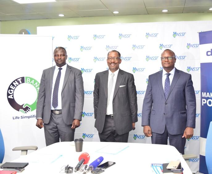 L-R - ABC (U) Ltd Chief Executive Officer, Richard Yego, Richard Byarugaba, NSSF Managing Director and Matthias Katamba, dfcu Bank Managing Director at the launch (PHOTO/Courtesy).