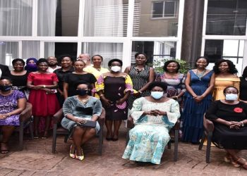Speaker Kadaga (seated, 2nd Right) with the new ULS executive committee (PHOTO/Courtesy)