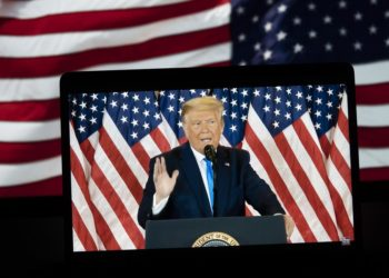 Photo taken in Arlington, Virginia, the United States, on Nov. 4, 2020, shows the Fox News live stream of U.S. President and Republican nominee Donald Trump delivering a statement in Washington, D.C., the United States. (Xinhua/Liu Jie)