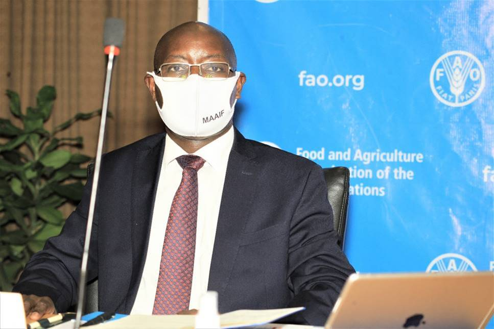 The Ministry of Agriculture, Animal Industry and Fisheries Permanent Secretary, Mr Pius Wakabi Kasajja during the launch of the process for the development of the CPF 2021-2025, held at Kampala Serena Hotel (PHOTO/Courtesy).