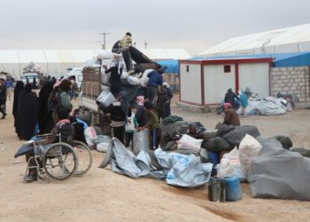 Displaced people prepare to leave the al-Hol camp in the northeastern province of Hasakah, Syria on Nov. 16, 2020 (Str/Xinhua).