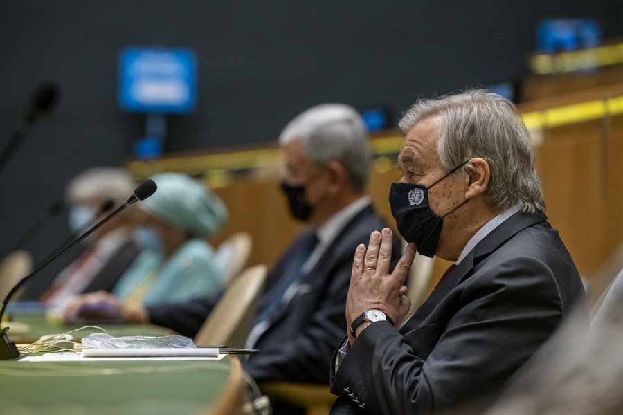 UN Secretary-General Antonio Guterres (Front) attends the screening of the United Nations Day Concert 2020 in the General Assembly Hall at the UN headquarters in New York, on Oct. 22, 2020. (Mark Garten/UN Photo/Handout via Xinhua).