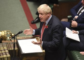 British Prime Minister Boris Johnson speaks at the House of Commons in London, Britain, on Oct. 29, 2019. (Jessica Taylor/UK Parliament/Handout via Xinhua).