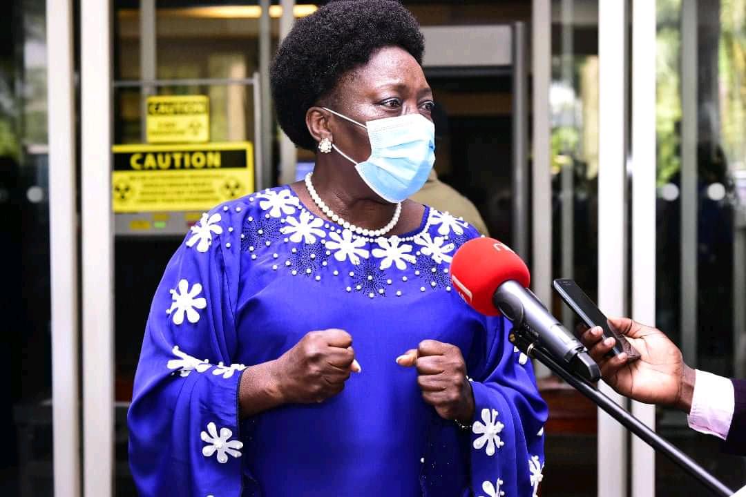 Parliamentary Speaker, Rebecca Kadaga speaking to the media (PHOTO/Courtesy).