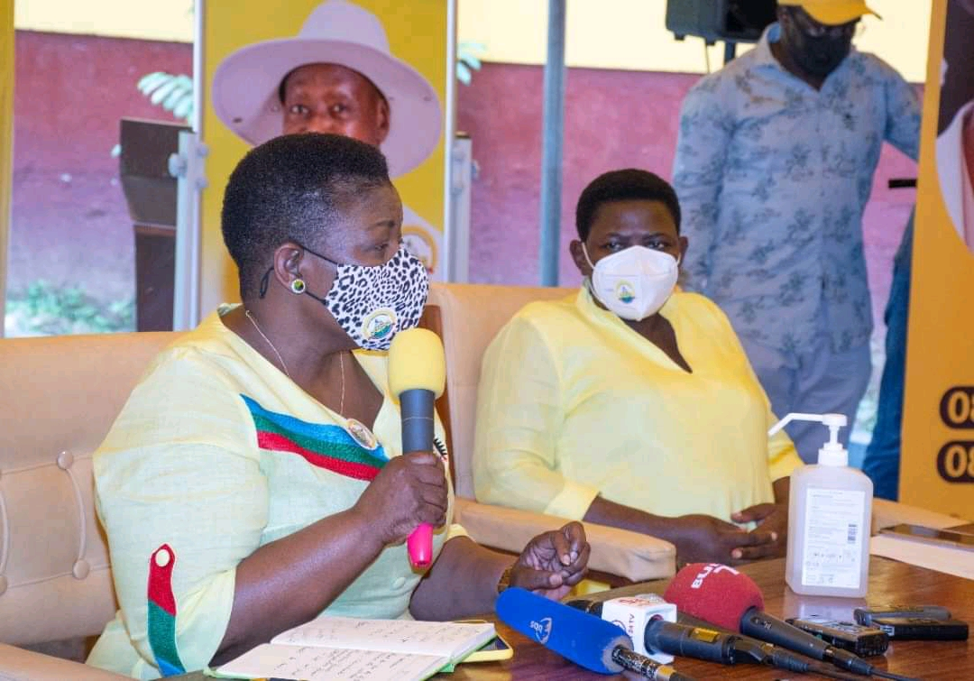 NRM Secretary General Justine Kasule Lumumba (L) during a presser on Sunday (PHOTO/Courtesy).