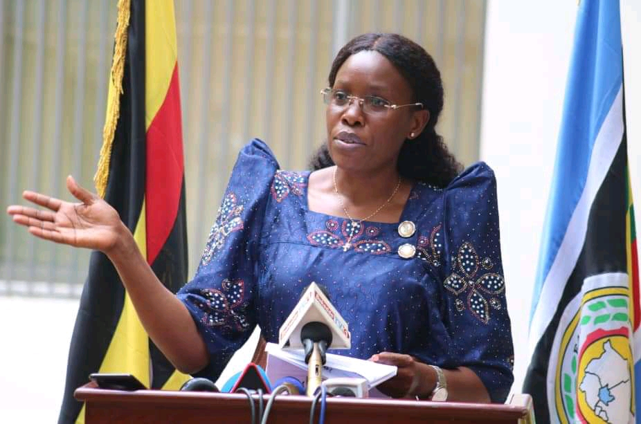 ICT Minister Judith Nabakooba addressing press at Uganda Media Center on Sunday (PHOTO/Courtesy).