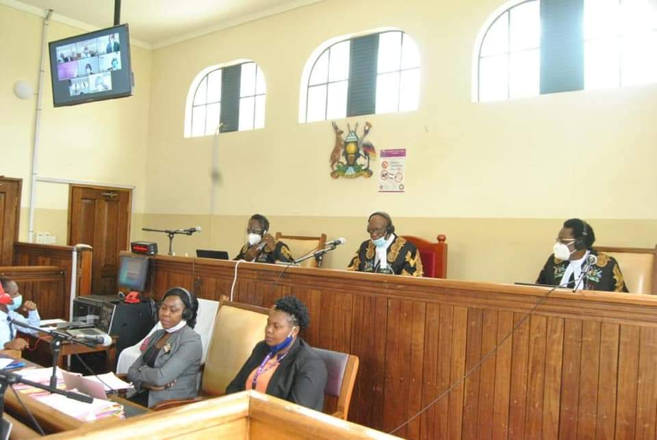 Justices during the court hearing on Fort Portal on Wednesday (PHOTO/Courtesy).
